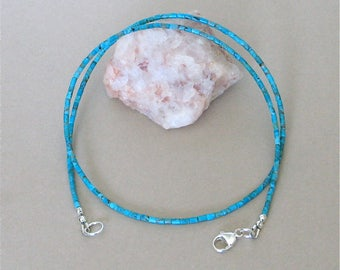 """Blue Kingman Turquoise Heishi Necklace - Tiny 2mm Heishi - 20 1/2"""" Necklace - Classic Southwest Style Turquoise Necklace for Men and Women"""