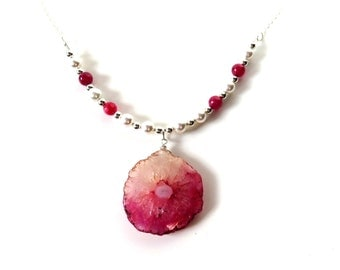 Solar Quartz Necklace, Hot Pink Silver Pendant Necklace, Sterling Chain with Pendant, White Pearls and Quartz, Quartz Necklace with Chain