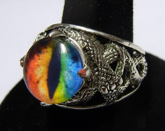 Custom Glass Dragon Eye Ring - Adjustable - Pick from any 179 eyes in my shop