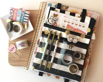 Gold dots and stripes planner cover pouch, washi tape organizer, planner accessories - Fits BIG Happy Planner, Deluxe EC Life Planner, etc.