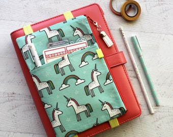 Unicorn planner cover - Planner Pencil Pouch -  Planner Cover Pouch - Planner Bag - Pocket Planner Pouch - Pen Pouch - Journal Cover - mint