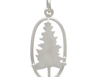 Pine tree charm. Sterling silver hiking jewelry charm or pendant. Make earrings, necklace, add to charm bracelet. Outdoor gift for her.