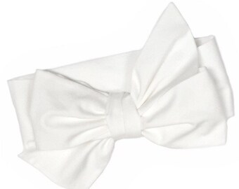 White Headwrap, Girls Headwrap, Baby Headwrap, HeadWrap, Girls Headband, Big Bow Headwrap, solid white - SOLID SNOW WHITE