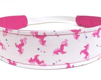 Little Girls Unicorn Headband, Kids Headbands, Baby Headband, Toddler Headbands  -  Reversible Fabric Headband - PINK UNICORN