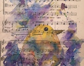 Custom order Yellow bird Watercolor Recycled art Upcycle painting on vintage sheet music