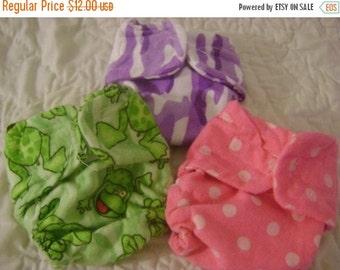 Closing Sale Cloth Doll Diaper -  3 pack GRAB BAG SPECIAL!