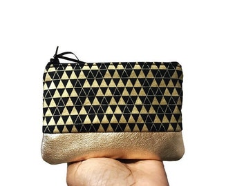 Triangles Black Metallic Gold Leather Pouch, Coin Purse, Coin Pouch, Small Change Purse, Leather Purse, Coin Wallet for Women, Gift for Her