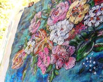 Ocean Flowers, Original Painting, Joy, Bohemian, Art, Cheery, Rustic, Wall Art, Home Decor, Cottage Decor, Beach, Coastal