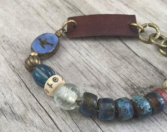 EARTHEN BIRD Bracelet with RECYCLED Leather Belt, Gypsy Bohemian; Adjustable Length Boho Tribal Hippie ooak