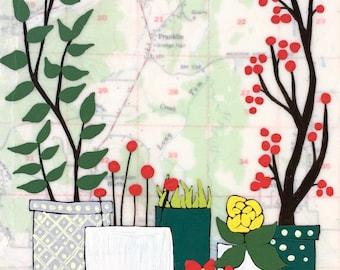 Franklin / 5 x 7 Map Painting / Map Art / Oregon Art / Pretty Plant Art / Modern Decor / Rachel Austin Art