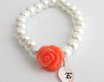 Personalized Flower Girl Bracelet, Flower Girl Jewelry, Child Bracelet, Little Girls Pearls Jewelry, Flower Girl Gift, Free Shipping In USA