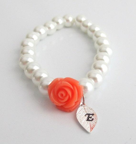 Personalized Flower Girl Bracelet,Flower Girl Jewelry,Orange Rose Flower Bracelet,Little Girls Jewelry,Flower Girl Gift,Free Shipping In USA