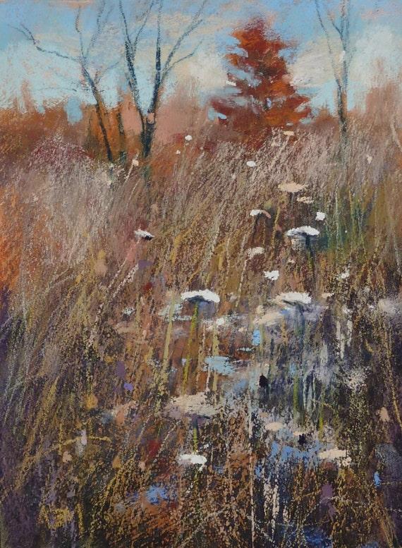 Autumn Landscape Prairie Wildflowers Original Pastel Painting Karen Margulis 8x6