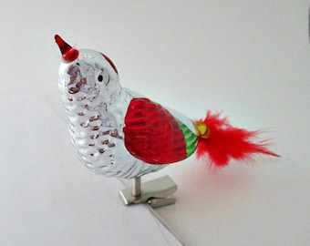 Clip On Bird with Feather Tail Vintage Christmas Ornament - 2 available