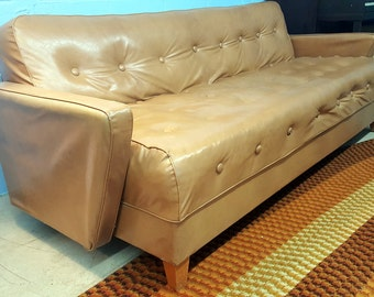 Vintage Cream Colored Click-Clack Folding Sofa Bed Tufted Pleather Vinyl