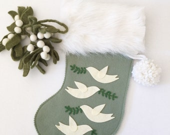 Felt Christmas Stocking, White Doves, 12 Days of Christmas, Vintage Christmas, Boys First Christmas, Holiday Berry, Green Felt Stocking,