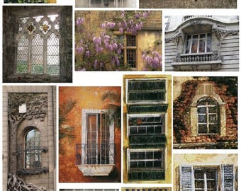 Old World Windows No. 3  - Digital Collage Sheet - Instant Download