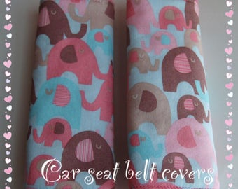 Reversible Kawaii Elephant Car Seat Belt strap covers