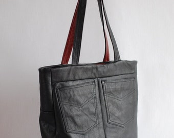 Sale! Black and red leather bag, upcycled leather, tote bag, weekend bag, black purse