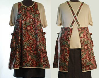 Plus Size No Ties Apron in Deep Red Floral