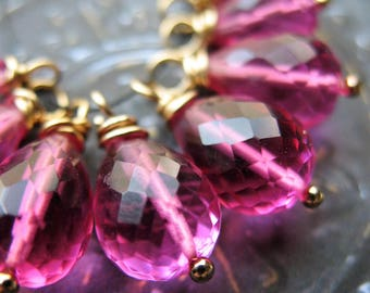 Pink Yarrow Faceted Quartz Teardrop Bead Charms - 8 pieces - 11 to 14mm in length