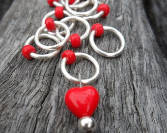 Small Snag Free Knitting Stitch Markers Red Heart Bead Seed Beads Fits Needles Up To 4.5mm