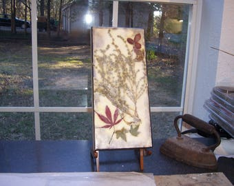 Encaustic art, dried flower art, nature collage, country decorating, home decor, pressed flowers and leaves