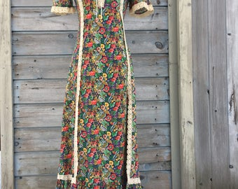 Vintage 60s Prairie Dress/60s Hippie Dress/60s Sears JR Bazaar Dress/ Bohemian Maxi Dress