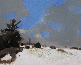 First Hill, Original Winter Landscape Painting on Paper, Stooshinoff