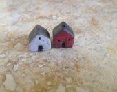 house beads, raku bead, kiln fired, red and white