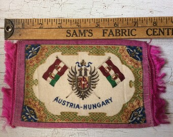 vintage cigar felt,collectible felt,Austria-Hungary,Flag,dollhouse rug,memorialbilia,cigar flannel,cigar premium,antique felt collectible