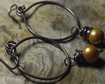 Copper Hoop Earrings Pearl Earrings Copper Jewelry