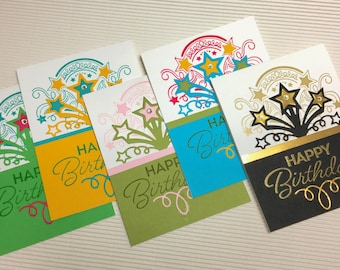 Happy birthday card set (5) handmade stamped rhinestone embellished blank stationery greeting party supply pape