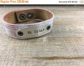 40% OFF- Stamped Leather Cuff-Scripture Cuff-Word Cuff-Be Still