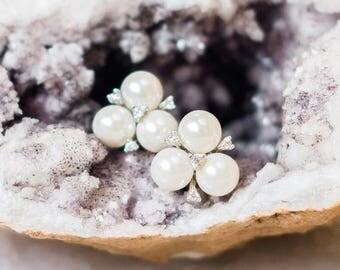 Vintage Inspired Pearl Stud Earrings, Maud