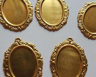 Vintage gold plated brass cabochon settings