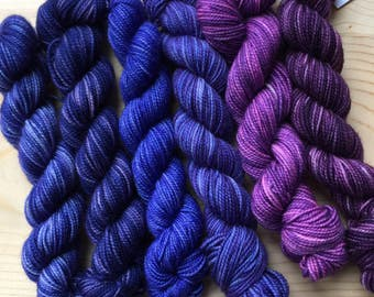 Blues and purples - six quarter skeins