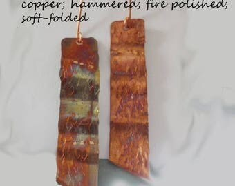 Copper Earrings, hand formed, fire polished