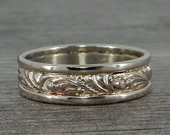 Recycled 14k White Gold Scroll Patterned Wedding Band, Wide Mens Ring, 6mm Wide, Ethical, Eco-Friendly, Made To Order
