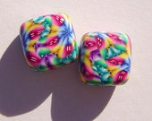 Jewel of Kings Handmade Artisan Polymer Clay Bead Pair