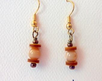 Earrings Gemstone Dangle Earrings Mookaite Vintage Yellow Sequins #022