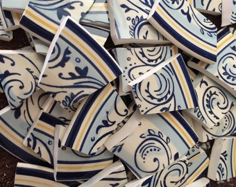 Mosaic Tiles Mix Broken Plate Art Hand Cut Pieces Supply Blue Croll Swirl White Pottery Tiles 100