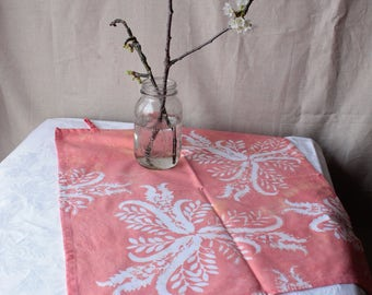 grapefruit pink thistles towel