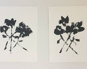RESERVED graphic art original acrylic painting abstract floral indigo blue and white paynes grey diptych