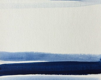 acrylic painting on paper art original abstract painting 9x12 set of 2 indigo blue graphic art