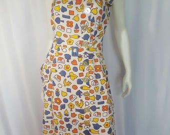 "1950s Novelty Print Linen Sun Dress | Waist 30 31"" | Bust:38"" | Medium | Hearts | Fish | Arrows | Geometric | Wiggle Dress | Vintage VTG"
