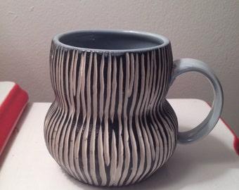 Striped Modern Porcelain Mug ice blue black white