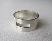 SALE Mens Geometric Ring, Wide Band, Rectangle Design