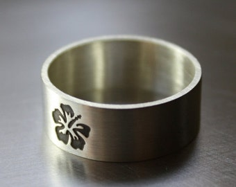 SALE Botanical Ring, Hibiscus Flower in Matte Finish