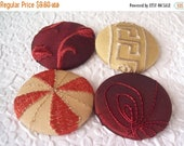 CLEARANCE - Wine buttons,  gold buttons, embroidered buttons,  size 75 buttons